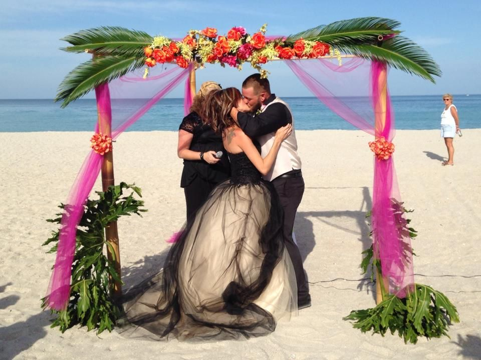 Tropical Beach Wedding Palms Bamboo Arch Florida
