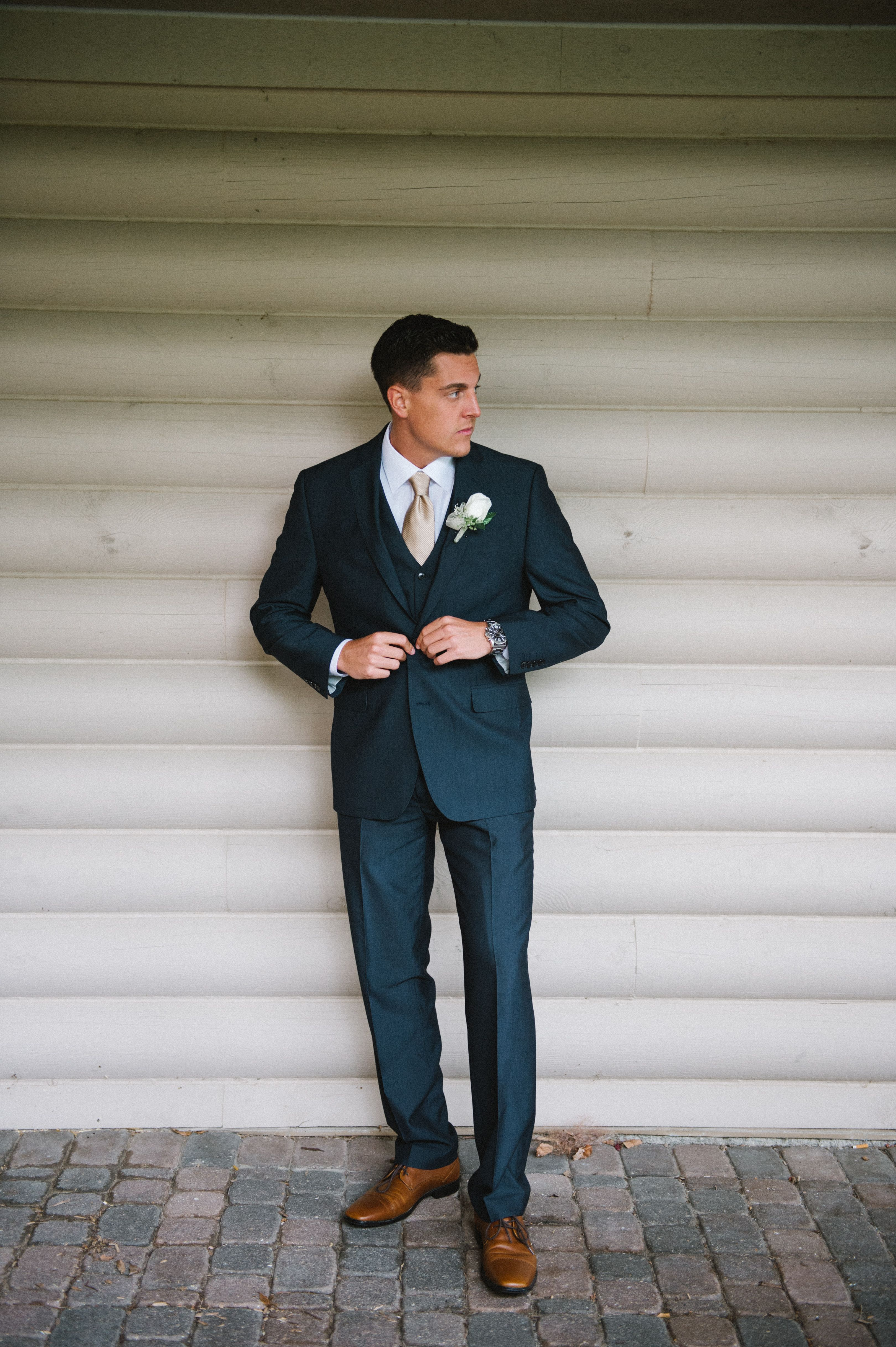 Navy Suit Wedding Cognac Shoes Taupe Tie Michiganwedding Meliabellephotography
