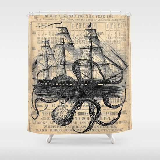 Shower Curtain Retro Octopus Attack Sailing Ship Design Waterproof Fabric