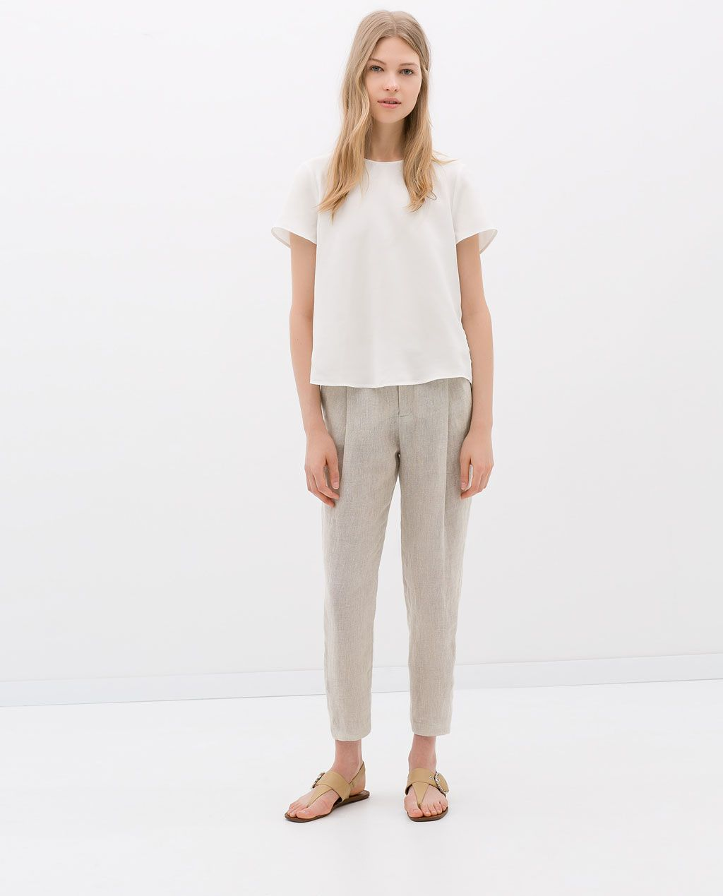 aef988a1 Image 1 of LINEN SIDE STRIPE TROUSERS from Zara | (Last Year:2014 ...