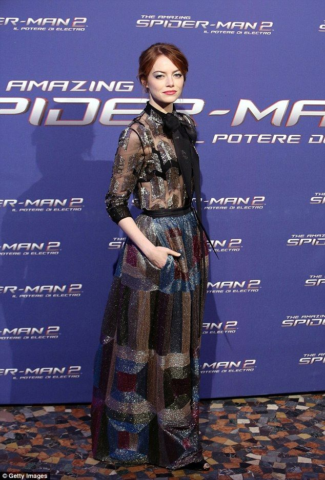 All that glitters: Emma Stone looks stunning as she attends the Spider-Man 2 premiere in Rome on Monday night