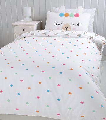 Off White Llama Print Cotton Single Duvet Set Duvet Sets Single Duvet Bedroom Themes