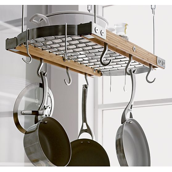 Small Bamboo Ceiling Pot Rack In Kitchen Crate And Barrel Pot