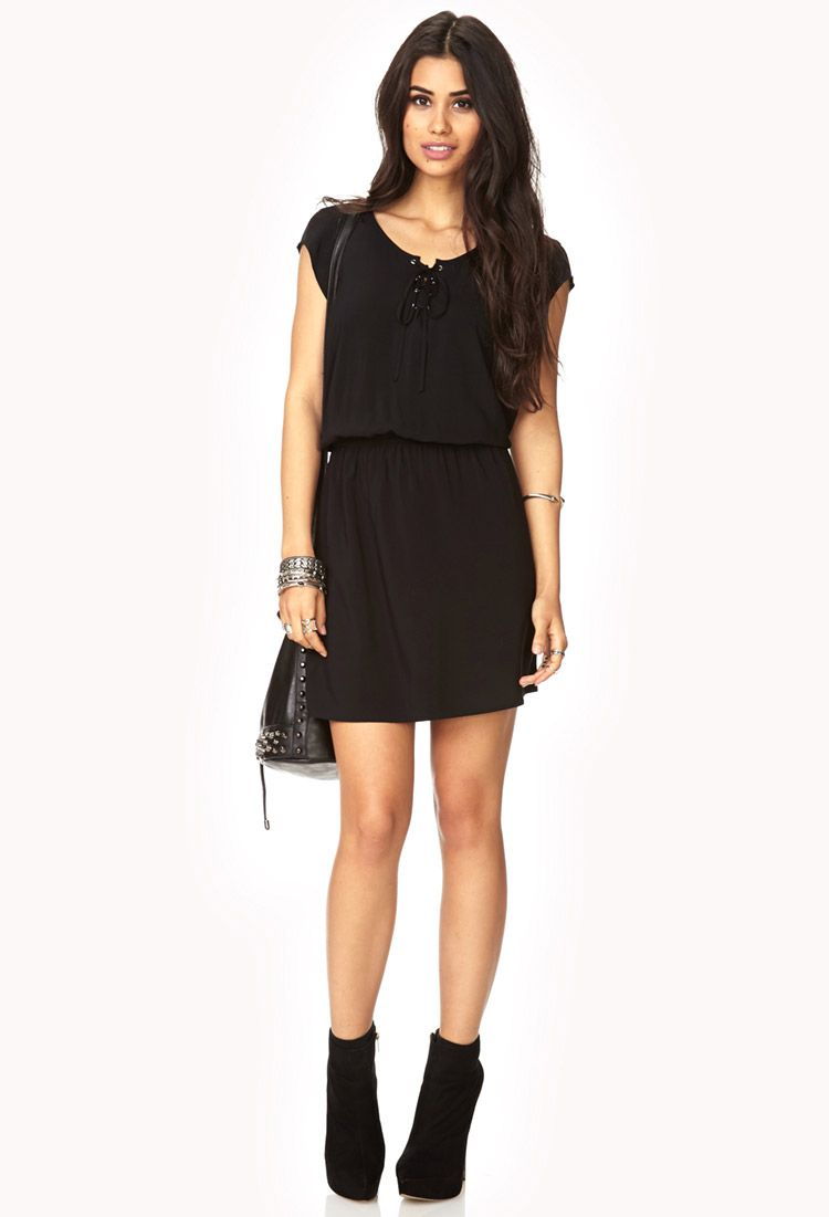 Poetic Lace-Up Dress | FOREVER21 - 2000072419