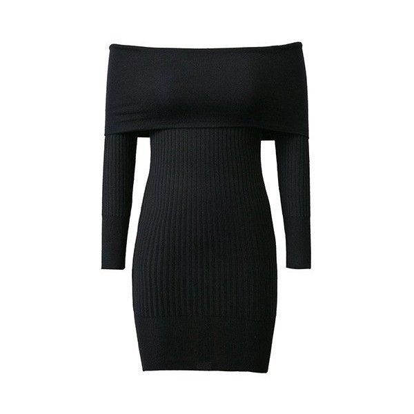 867277497c Black Off Shoulder Long Sleeve Rib Knitted Bodycon Dress (87 BAM) ❤ liked  on Polyvore featuring dresses