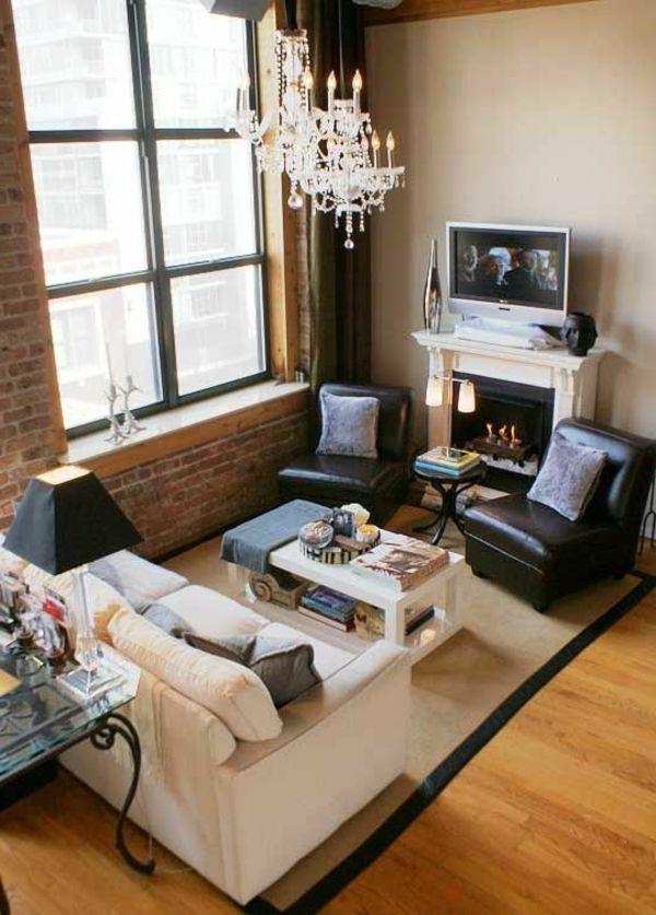 Ziegelwand und gro es fenster im wohnzimmer wohnen - Wohnzimmer ziegelwand ...