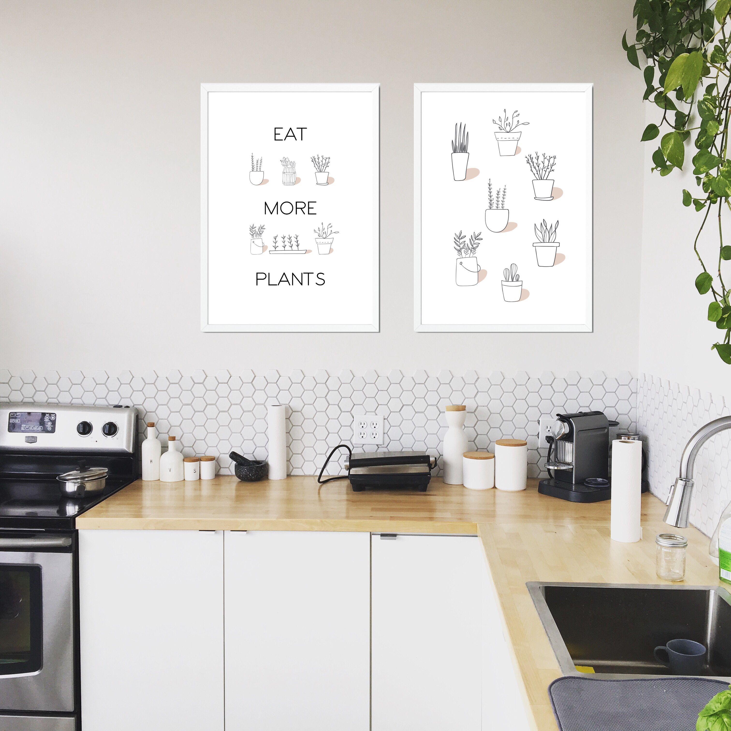 Eat More Plants Print Vegan Quote Print Plant Powered Plant Etsy Kitchen Decor Home Decor Kitchen Vegan Kitchen