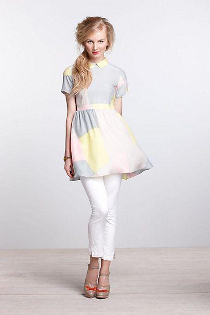 Maps Collared Mini Dress-Maps Collared Mini Dress