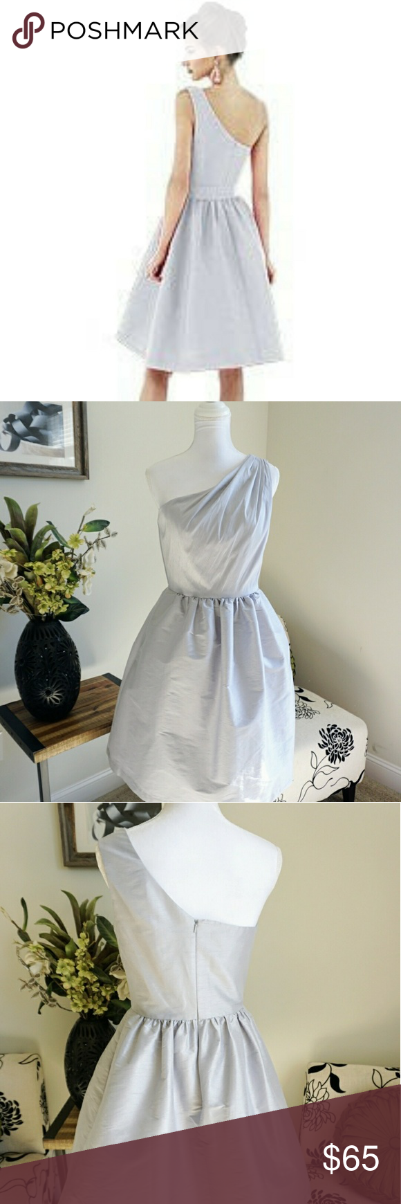Raw silk wedding dress  Alfred Sung Dress  Alfred sung Gray color and Full skirts