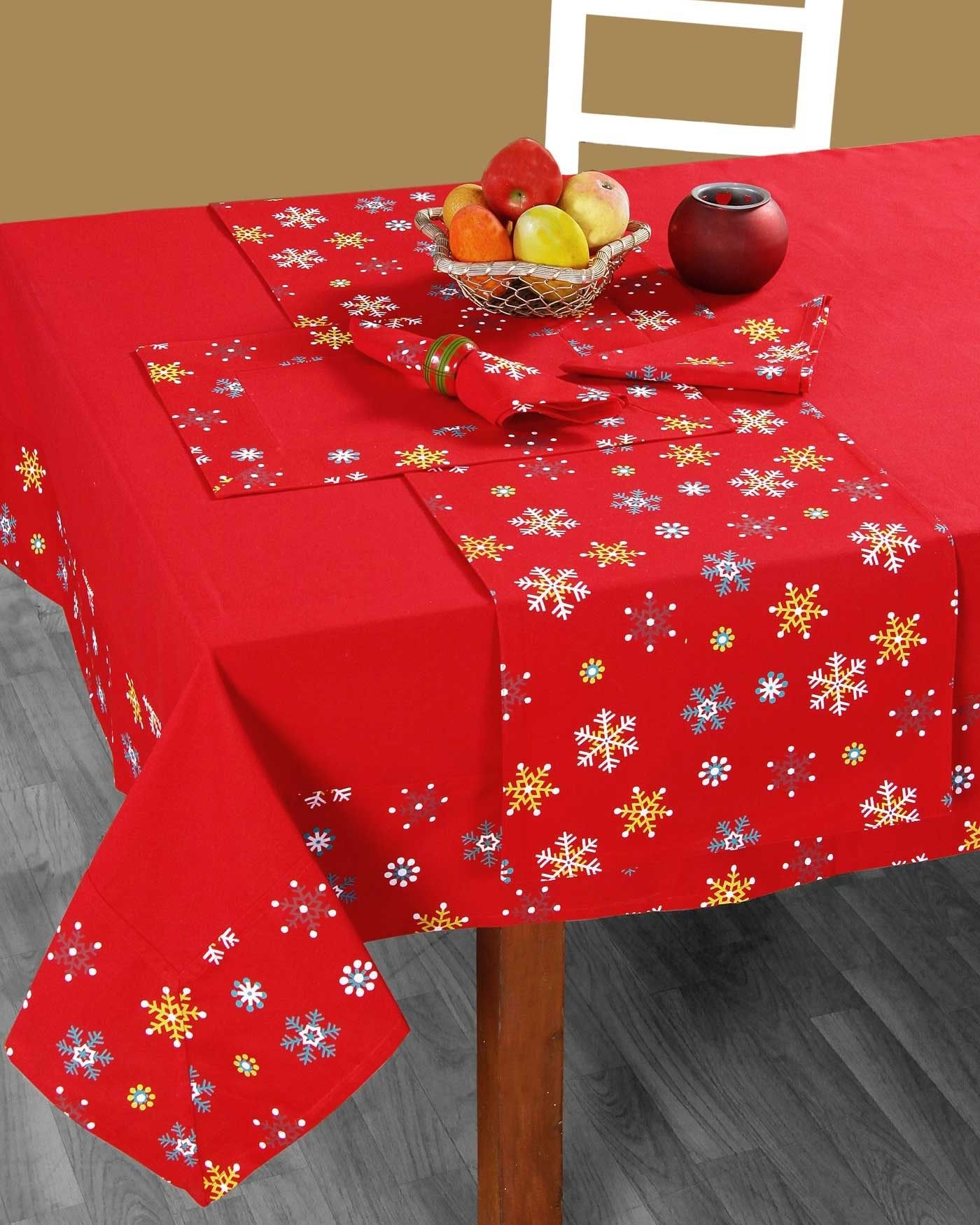 This Festive Red Cotton Tablecloth With A Decorative Snowflake Border Is Guaranteed To Get Everyone At Your Table Feel Christmas Table Cloth Christmas Baubles Red Christmas