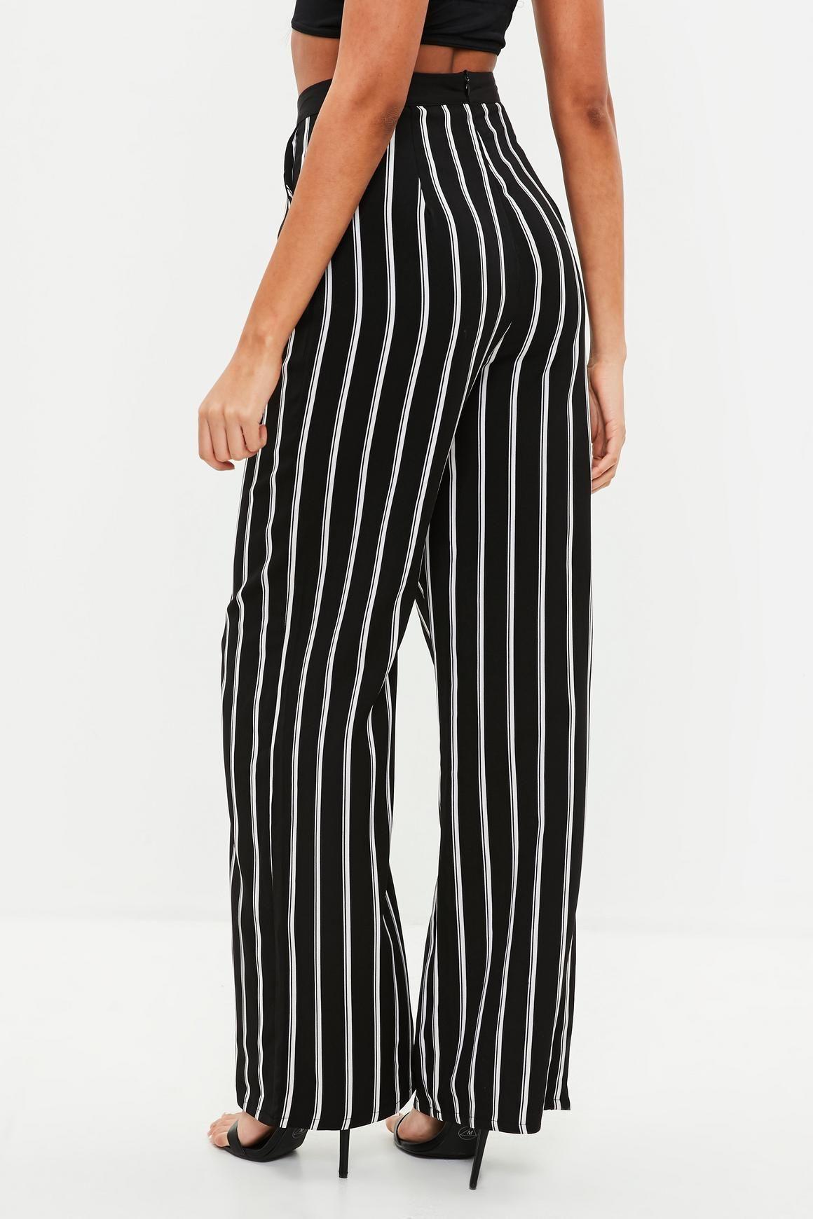 c96efa39b9 Missguided - Black Stripe Wide Leg Pants | Sum 18 | Striped wide leg ...