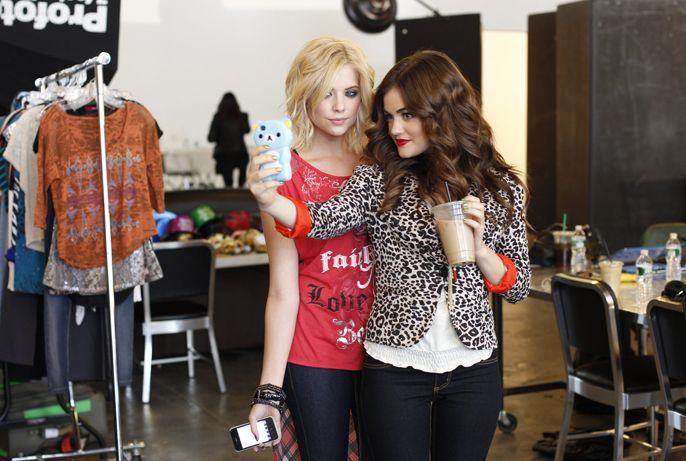 Behind-the-scenes with @Ashley Benson and Lucy Hale on the set of their Bongo photoshoot