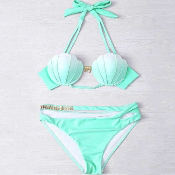 Mermaid Shell Top with Cut-Out Bikini Bottom Set - Mint