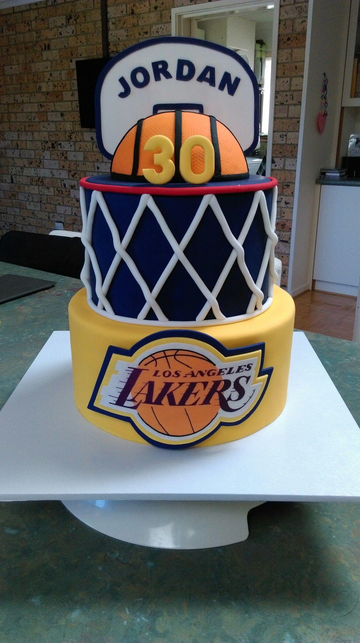 LA Lakers cake Basketball cake, Basketball birthday cake