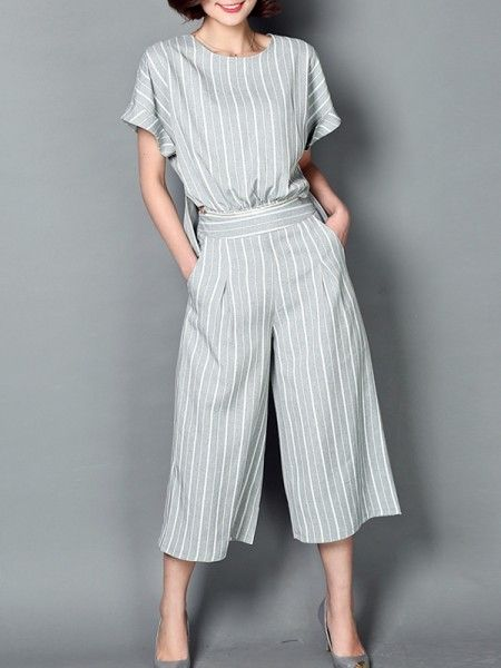 Basic Striped Basic Tee And Pants