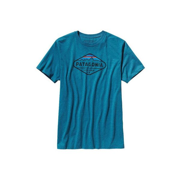 Men's Patagonia Fitz Roy Crest Cotton/Poly T-Shirt - Underwater Blue.