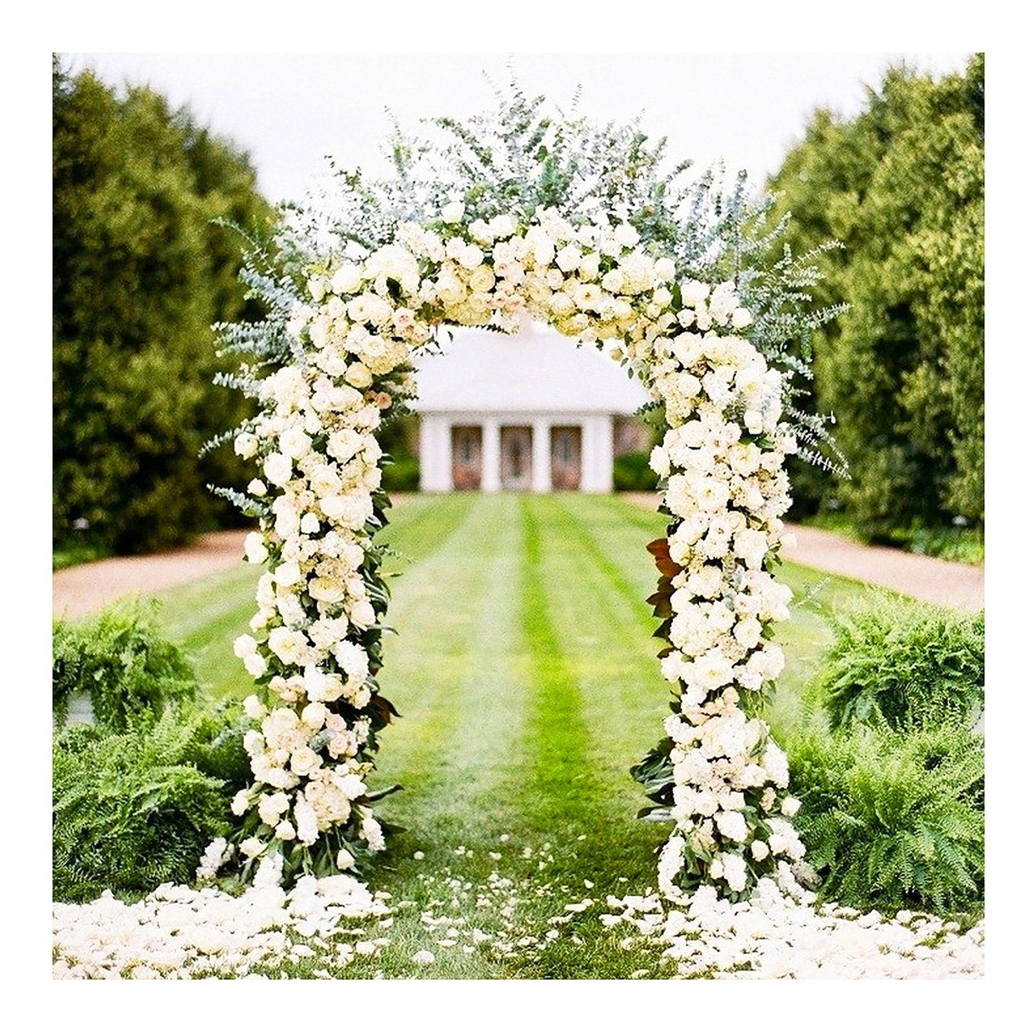 Adorox 7 5 ft white metal arch wedding garden for Decoration jardin metal