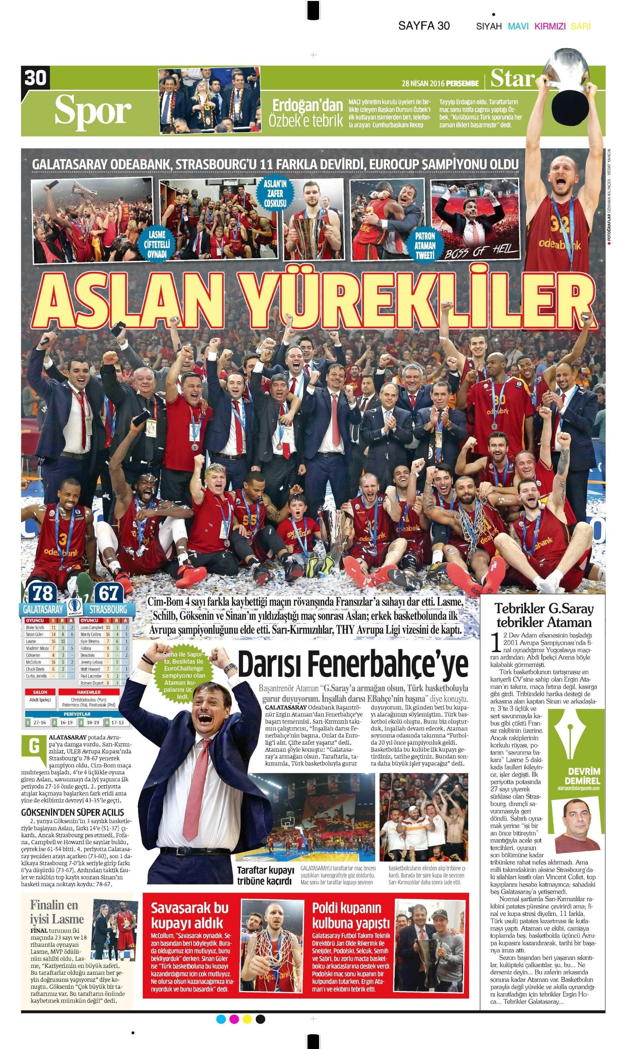 Sporun Manşetleri (28 Nisan 2016)