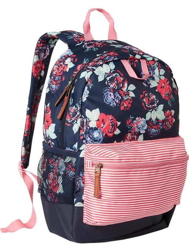 Old Navy Girls Patterned Backpacks Size One Size - Red floral ... ac0d8d4e6fba2