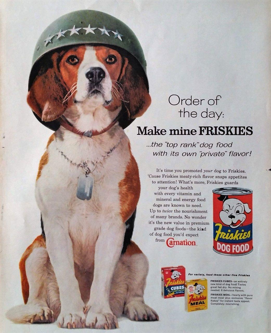 1960 Friskies Beagle Dog Magazine Advertisement Beagle Dog