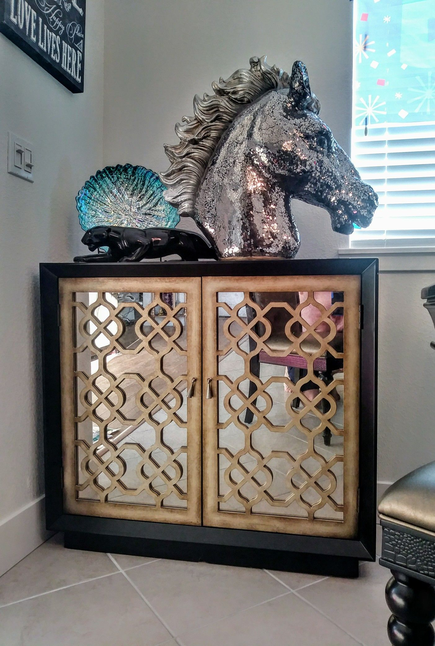 Designed By Jeston Whitacre Glass Horse From Ashley Furniture In Woodbridge Va Aqua Shell Decor From World Market Shell Decor Ashley Furniture Wood Bridge