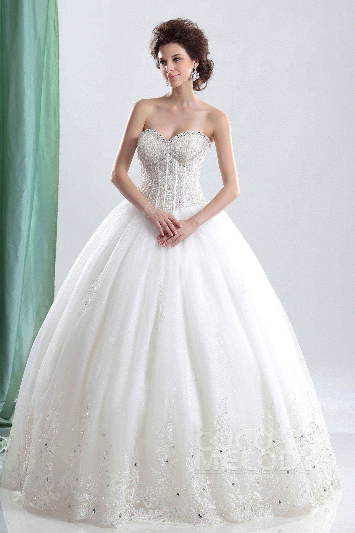 Wedding dresses ball gown sweetheart  Dreamy Ball Gown Sweetheart Basque Waist Floor Length Tulle Wedding