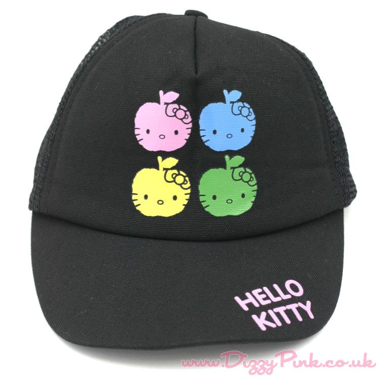 Hello Kitty Mesh Cap Black Apple Face Hello Kitty Mesh Cap Black Apple Face