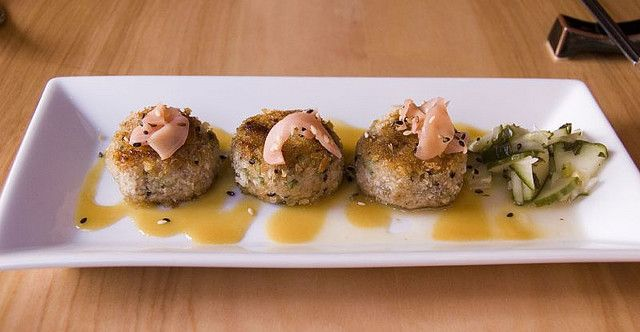"""(Rollover)  Spicy Tuna Cakes $9    Here's the description on the menu: """"Delicate cakes of chopped sashimi tuna mixed with scallions and togarashi, accented with a miso-mustard sauce (served medium rare).""""    This dish was a crime against tuna-nity. The """"s could you bake like this?"""