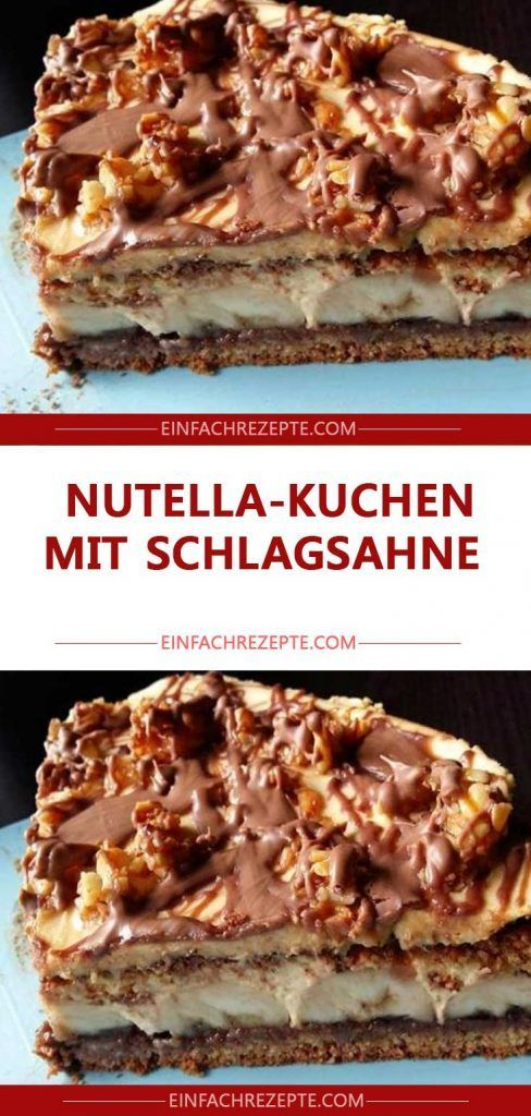 Photo of Nutella cake with whipped cream 😍 😍 😍