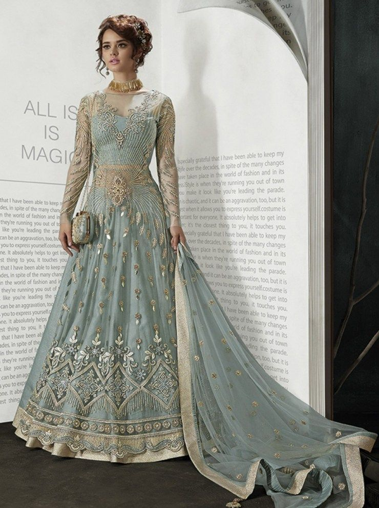 6a874cf054 Indian Woman clothes Wedding Wear Party wear Maisha -5503 Grey Embroidery  Work And with Diamond Work Designer Style Anarkali Suit -FC-5686 | | ...