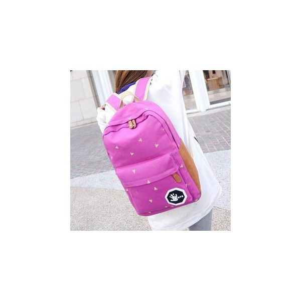 Canvas Printed Backpack ($31) ❤ liked on Polyvore