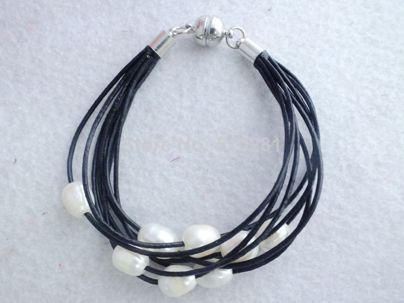 Fabulous Women Jewelry White Freshwater Rice Pearl leather Bracelet LK-2239 $102.33