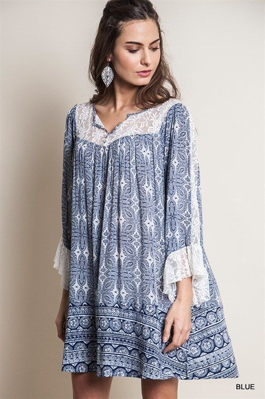 78749e20a1a Printed Lace Trim Shift Dress Boho Chic Slouchy Bohemian Clothing Hippie  Large  UrbanPeopleClothing  Tunic  Casual