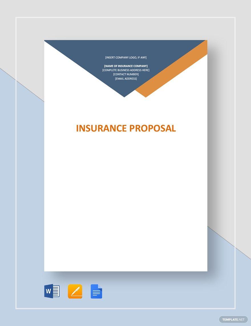 Insurance Proposal Proposal Templates Business Proposal Template Templates