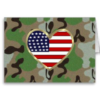 Patriotic USA Camo Greeting Cards