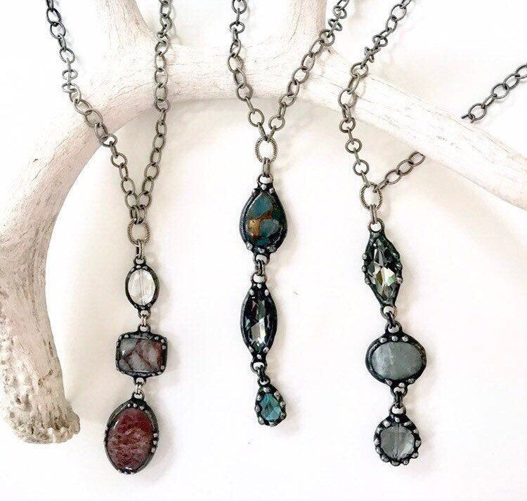 LONG necklace soldered jewelry rosary chain Soldered crystal and stone pendant layered jewelry. gift for mom rustic jewelry