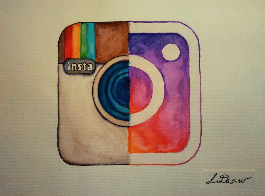 Scribble Drawing Instagram : Watercolor old vs new instagram logo by lidraw transfer