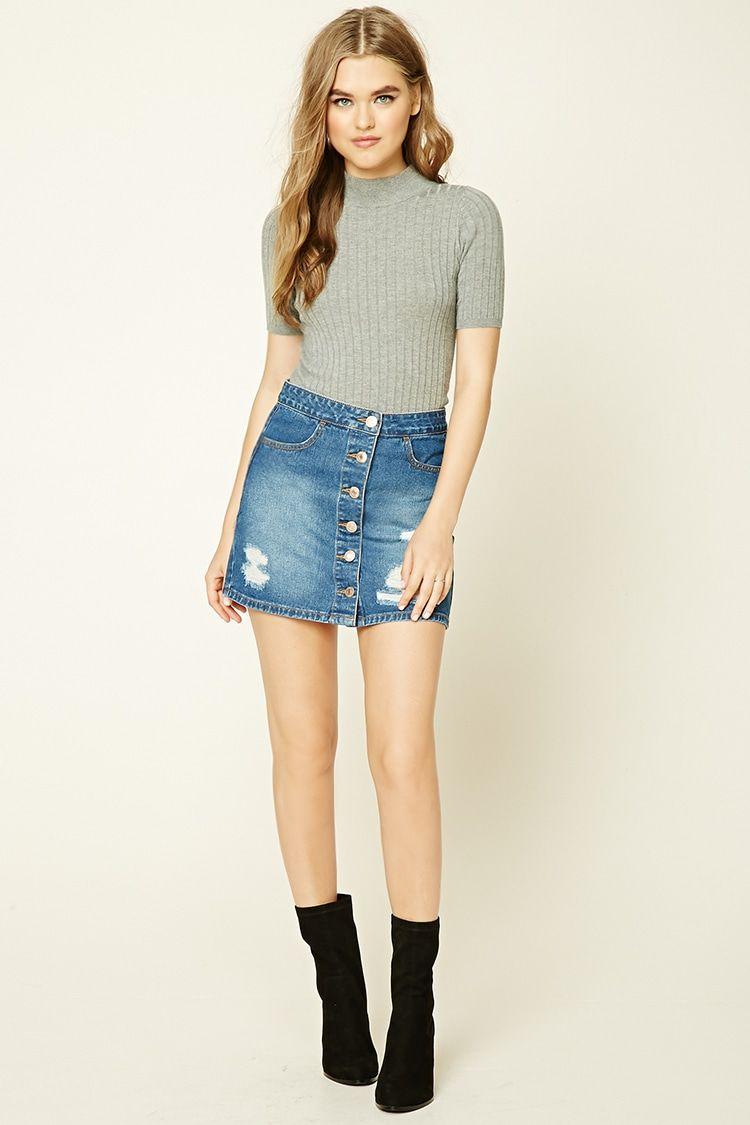276509ae7b Distressed Denim Skirt | Fall/Winter Skirts & Shorts | Denim skirt ...