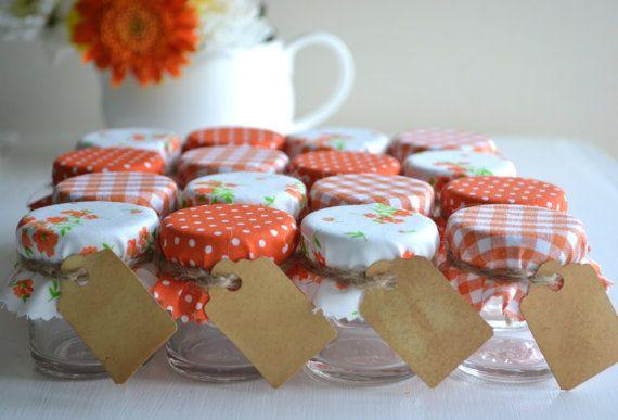 Orange Autumn wedding favours mini DIY jars these are too cute!