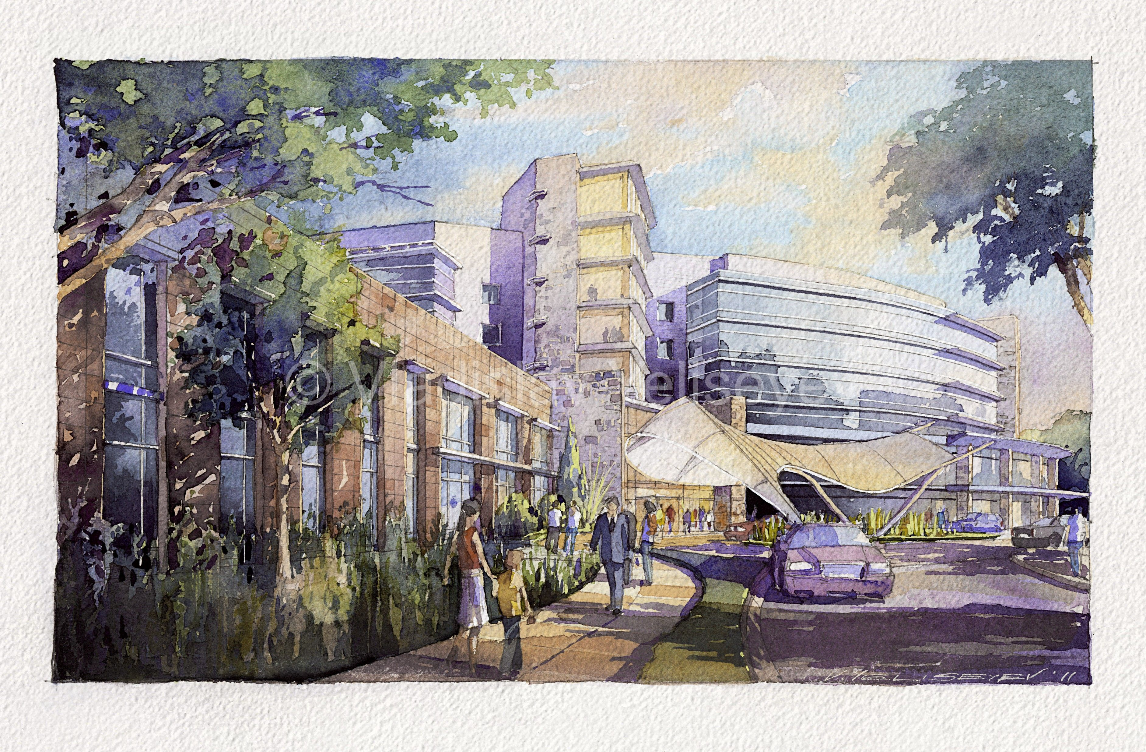 Eye Level Watercolor Architectural Renderings By Vladislav