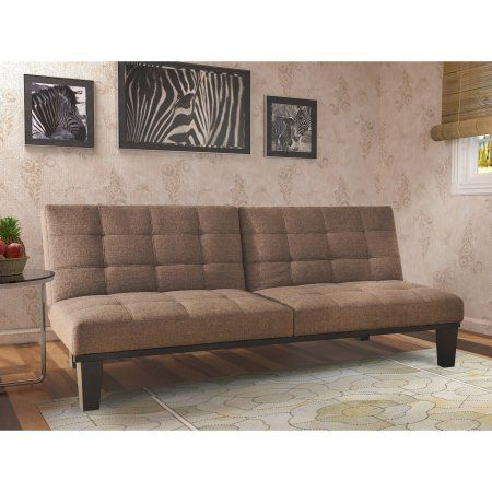 White Leather Sofa Tweed Memory BC Foam Futon Split Seat Back Wooden Frame Brown Color Details can be