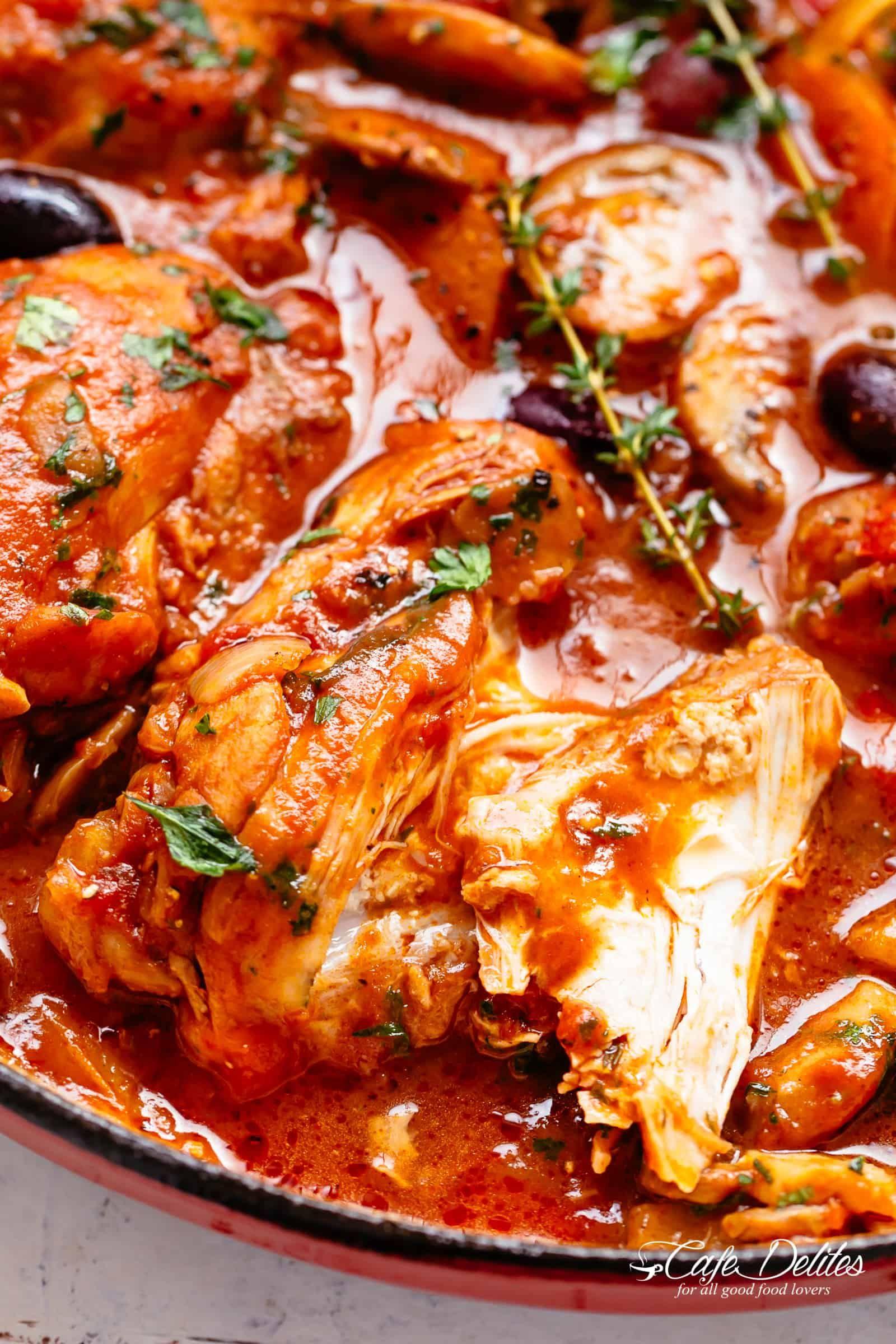 Fall Apart Chicken Cacciatore Cafedelites Com Cacciatore Recipes Chicken Recipes Chicken Cacciatore Recipe