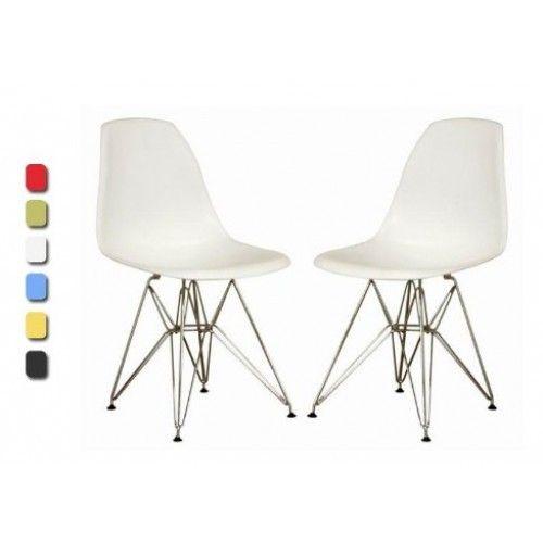Set of 2 White Eiffel Side Chair Wire Chrome Base New | eBay