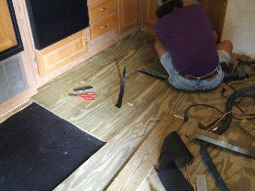 Attaching The New Plywood Flooring With Screws Camper Flooring