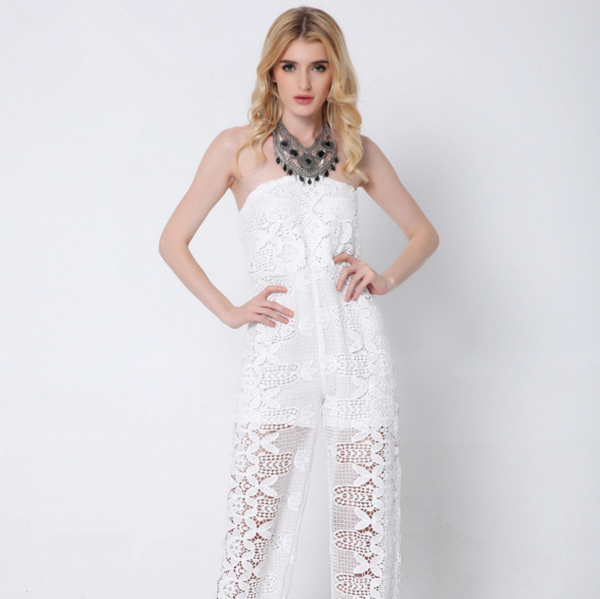 The new summer women sexy lace halter Bra piece pants solid color casual trousers