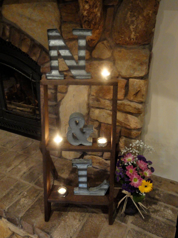 Rustic ladder shelfhome decor and weddingscenterpiecesrustic