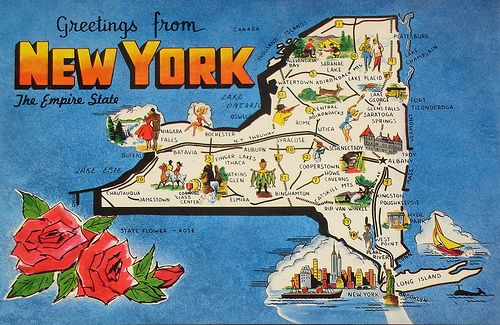Cartoon Map Of New York City.Greetings From New York Map Postcard Do You Remember Nostalgia