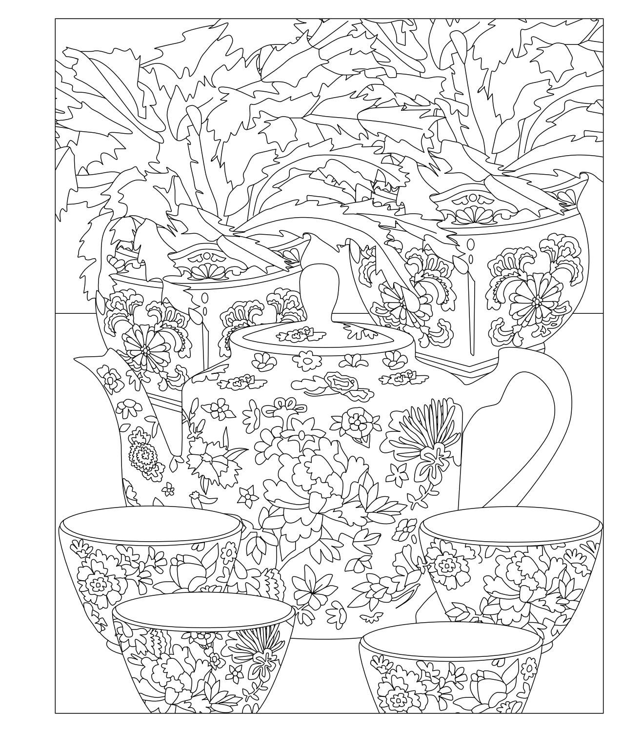 Elegant Tea Party Coloring Book Coloring Pages