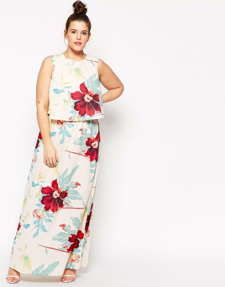 Asos Curve Plus Size Double Layer Floral Print Crop Top Maxi Dress Uk 20 Eu 48 Plus Size Wedding Guest Outfits Wedding Guest Outfit Summer Maxi Dresses Uk