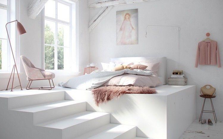 chambre claire en blanc neige et ambiance féminine, déco aux accents